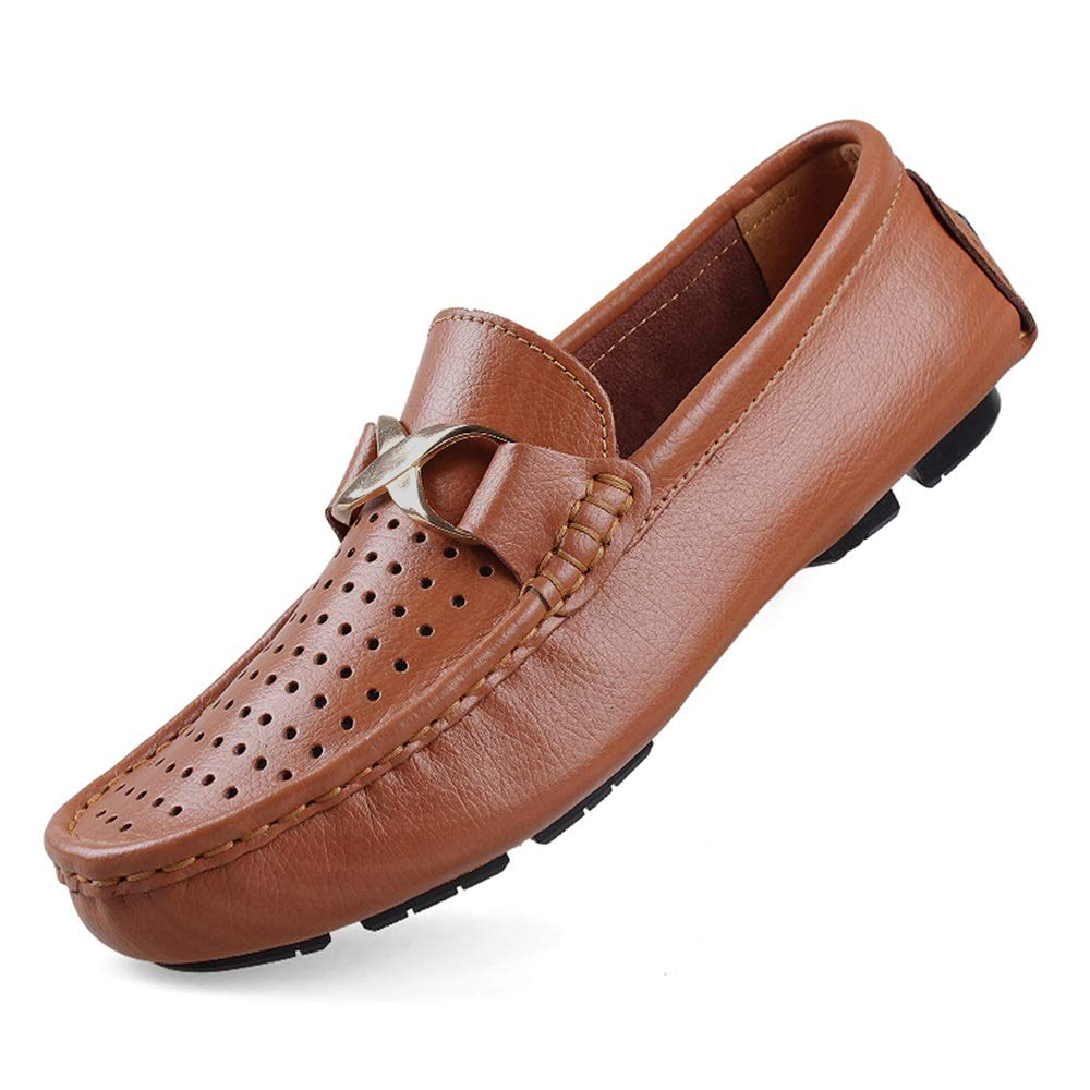Oxford shoes Mens Formal Slip On PU Leather shoes Round Toe Low Top Big Size Breathable Hollow Vamp (color   Light Brown, Size   6.5 UK)
