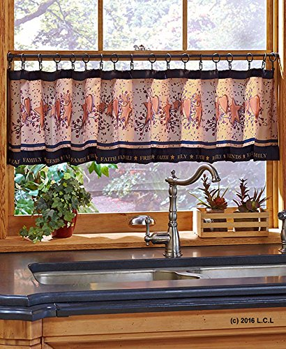Country Heart Star Faith Family Friends Valance w/Hooks Kitchen Rustic Primitive ()
