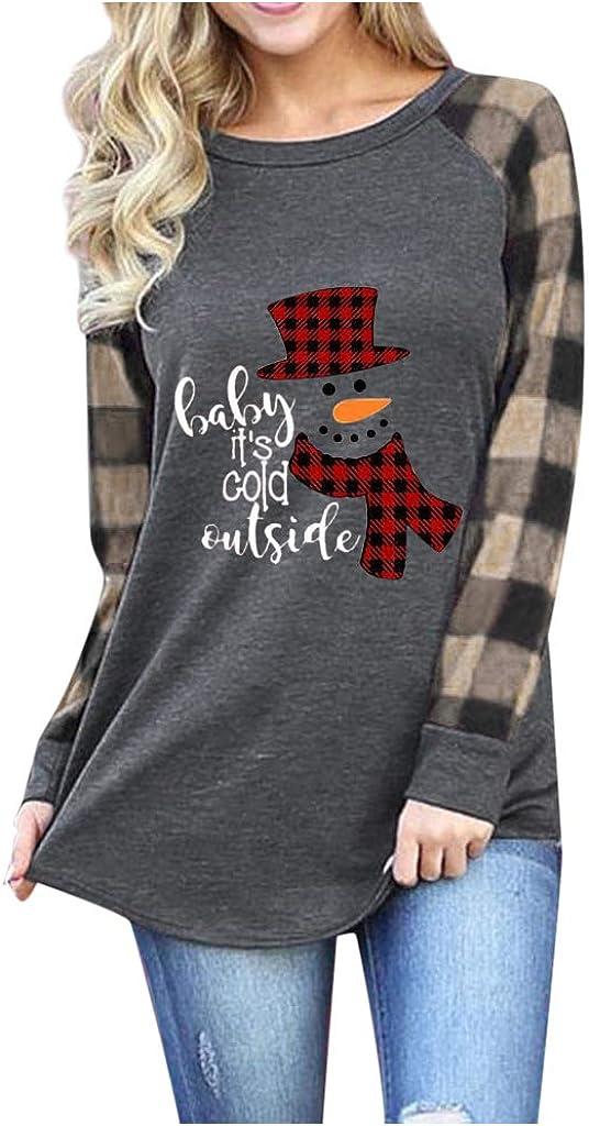 Women Valentines Day Christmas Tree Car Plaid Blouse Tee Raglan Top Long Sleeve T-Shirt
