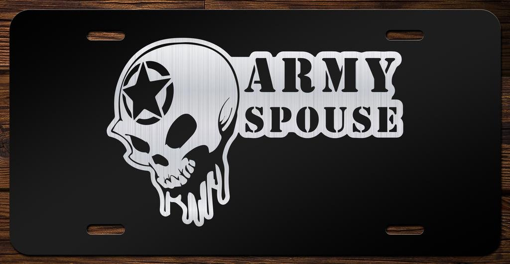 Army Spouse Skull Vanity Front License Plate Tag KCE091
