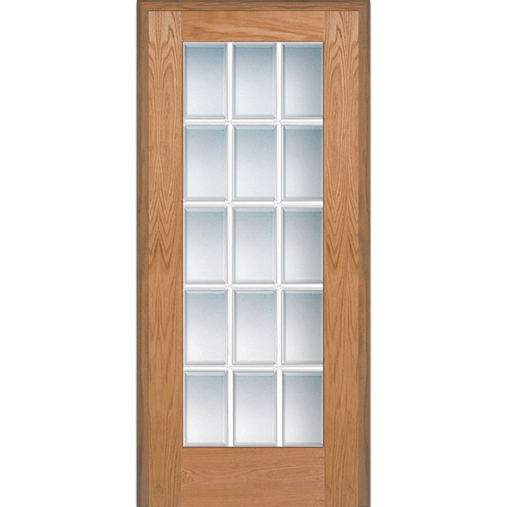 National Door Company Z020003R Unfinished Red Oak Wood 15 Lite True Divided, Beveled Clear Glass, Right Hand Prehung Interior Door, 36'' x 80''