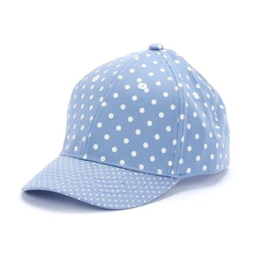 Peppercorn Kids Girls Fun Polka Dot Baseball Cap - Sky Blue - S (6- d67923e19196