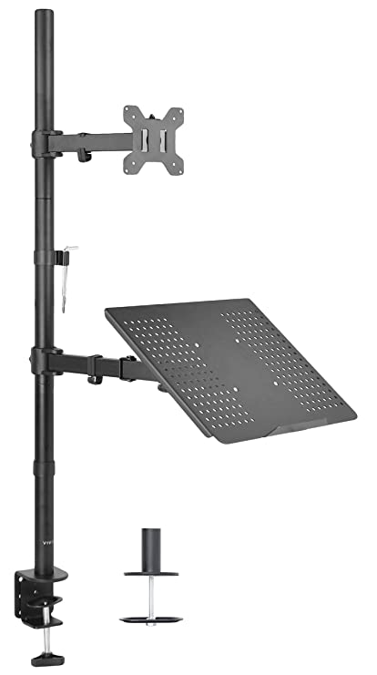 VIVO Fully Adjustable Single Computer Monitor and Laptop Desk Mount Combo Black Stand with Grommet Option STAND-V002C Fits 13 to 24 Screens and up to 17 Laptops