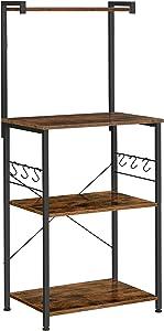 VASAGLE Kitchen Storage, Bakers Rack, Coffee Bar, 3-Tier Shelf, 6 S-Hooks, for Microwave, Spice Jars, Pots and Pans, Industrial, Rustic Brown and Black UKKS023B01