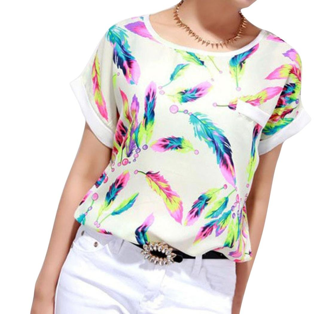 FENZL Women Chiffon Short Sleeve Feathers Print Casual Blouse Top T-Shirt (S, Multicolor)