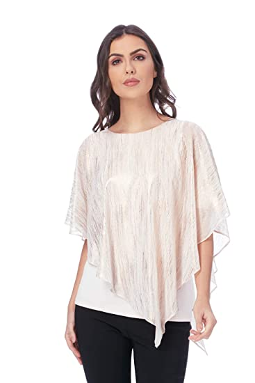 3f47a690cfcc6 Roman Originals Women Metallic Stripe Overlay Asymmetric Top - 3 4 Sleeve  Retro Sparkly Glitter Tops - Ladies Party Evening Going Out Cruise   Amazon.co.uk  ...