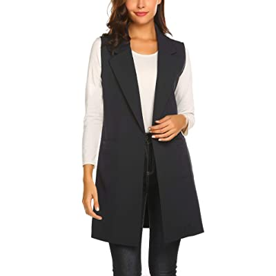 Showyoo Women's Long Sleeveless Duster Trench Vest Casual Lapel Blazer Jacket at Women's Clothing store