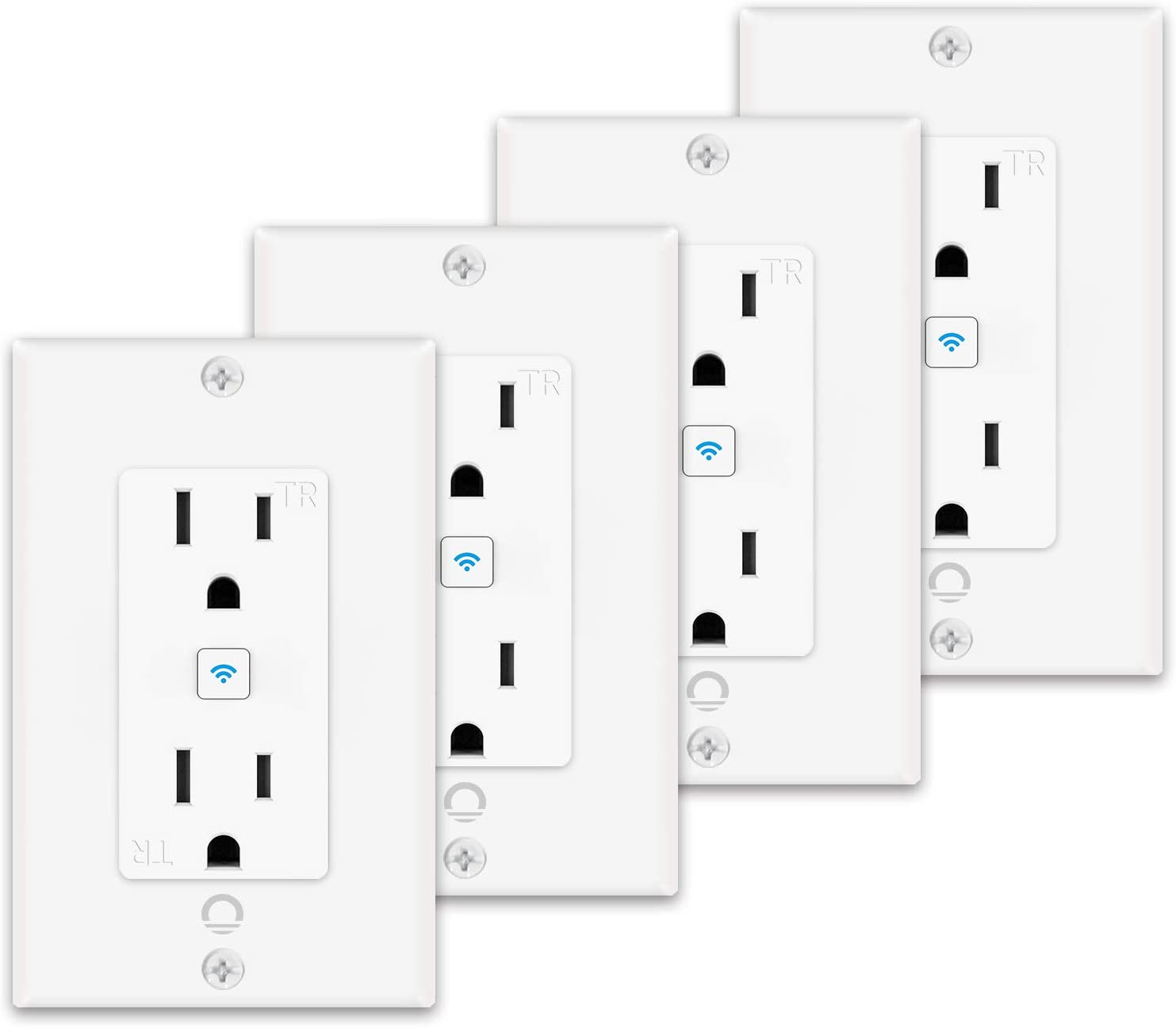 Lumary Smart Wi-Fi In-Wall Outlet 15 Amp 125 Volt Tamper Resistant Split Duplex Receptacle, Individual Control of 2 Plugs, Compatible with Alexa, Google Home (No Hub required)