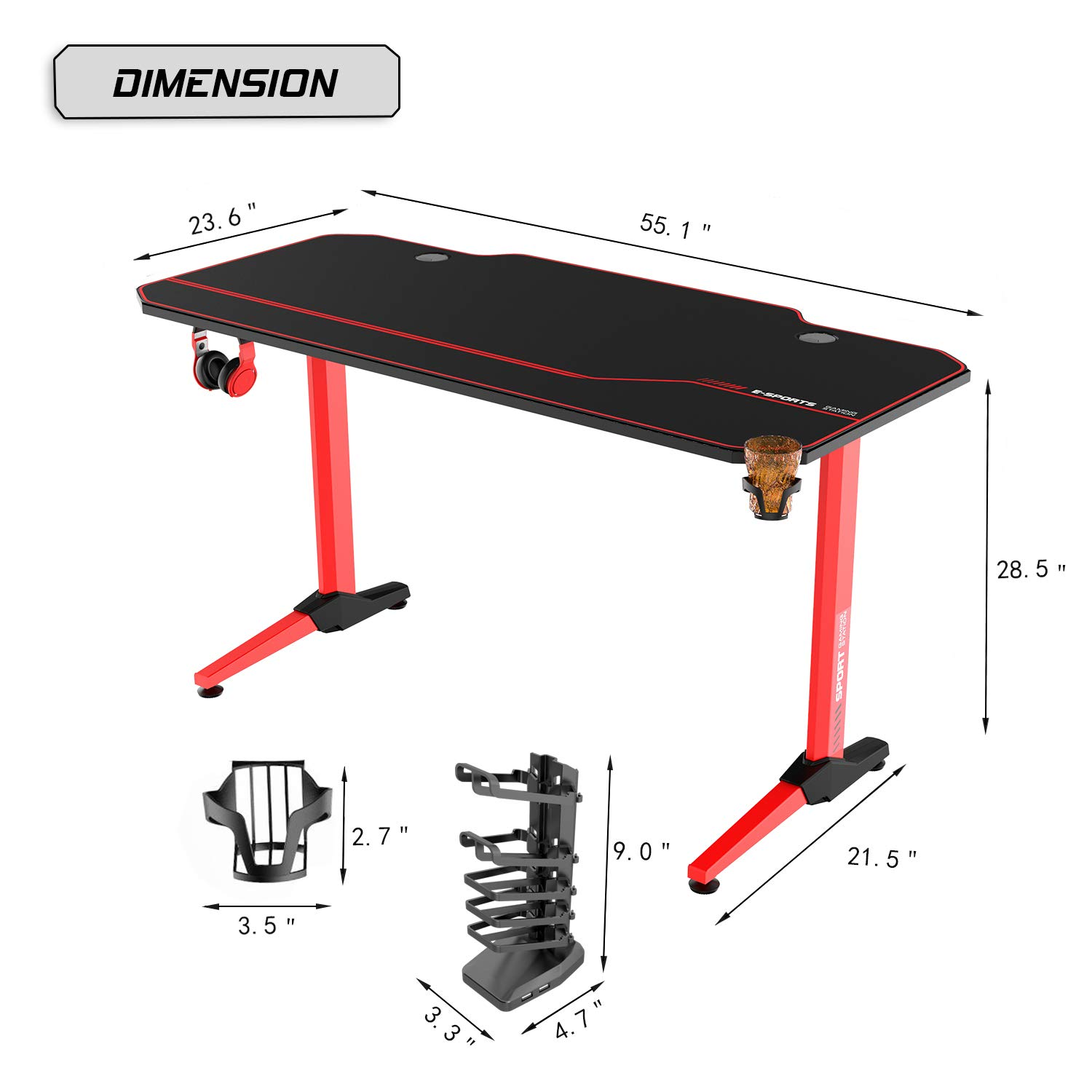Vitesse 55 inch Gaming Desk T-Shaped Computer Desk with Free Large Mouse pad Cup Holder /& Headphone Hook Black Leg Racing Style Professional Gamer Game Station with USB Gaming Handle Rack