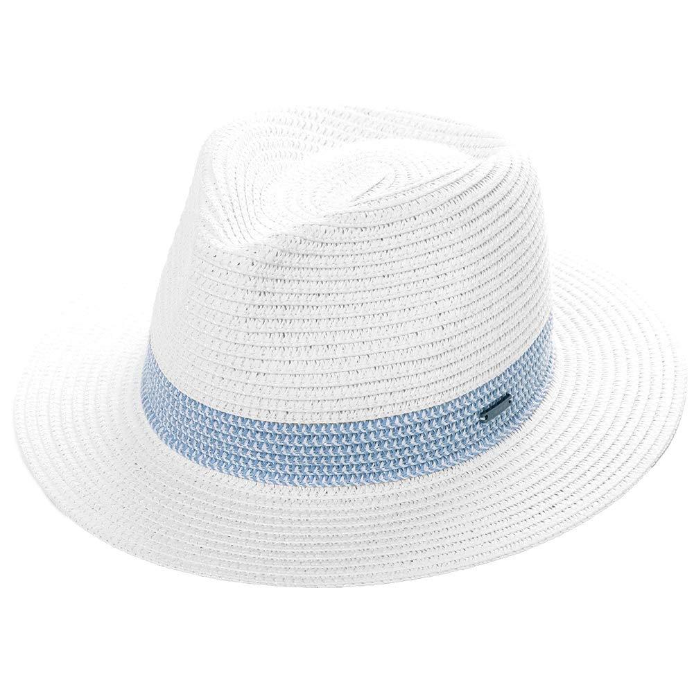 Women Packable Straw Fedora Panama Sun Summer Beach Derby Hat Small Head for Men White 55-56cm