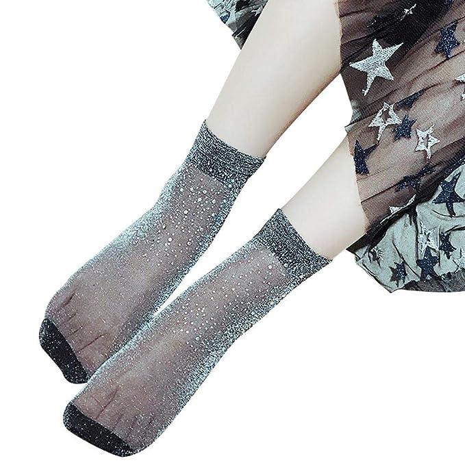 VJGOAL Moda casual mujer delgada sexy Rhinestone transparente Crystal calcetines cortos(Un tamaño, Armada): Amazon.es: Ropa y accesorios