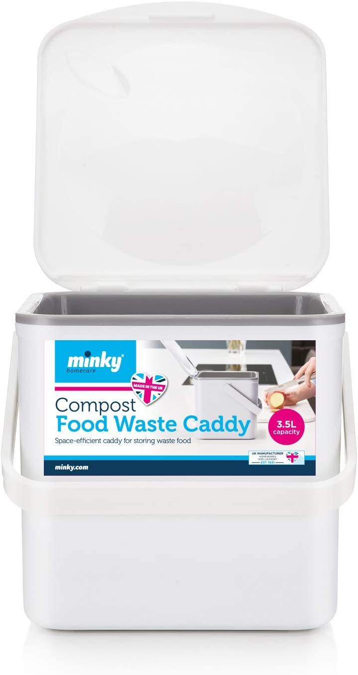 Minky Compost Food Caddy, White, One Size