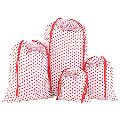 Cherry Lightweight Headphone (Neoviva Cotton Drawstring Storage Bags with Bow Knot for Home and Travel Organization, Set of 4 in Different Sizes, Polka Dots Cherry Tomato)