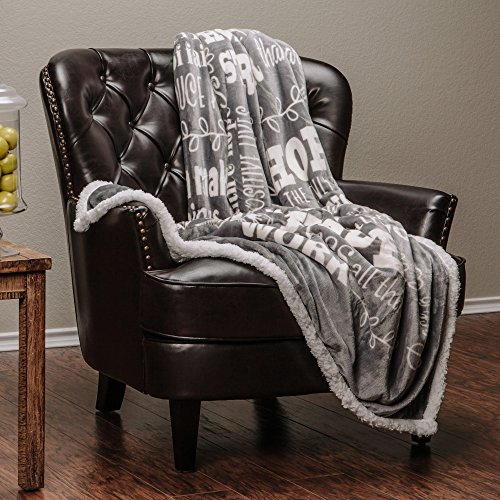Chanasya Hope and Faith Prayer Inspirational Message Gift Throw Blanket - Posivite Energy Love Comfort Caring Soft Cozy Thoughtful Uplifting Healing Gift for Best Friend Women Men - Gray Throw Blanket