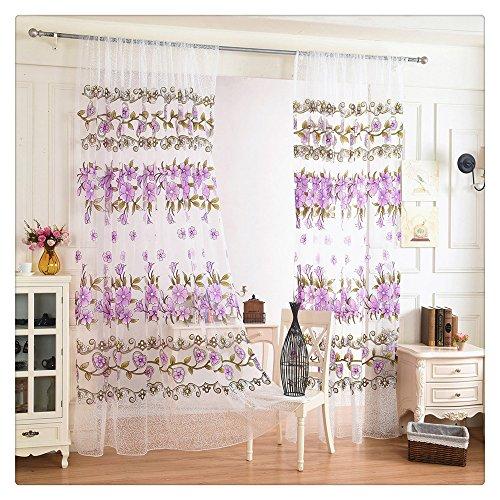Litetao 2017 New Flower Sheer Curtain Tulle Window Treatment Voile Drape Valance for Bedroom/Living (Voile Tour Light)