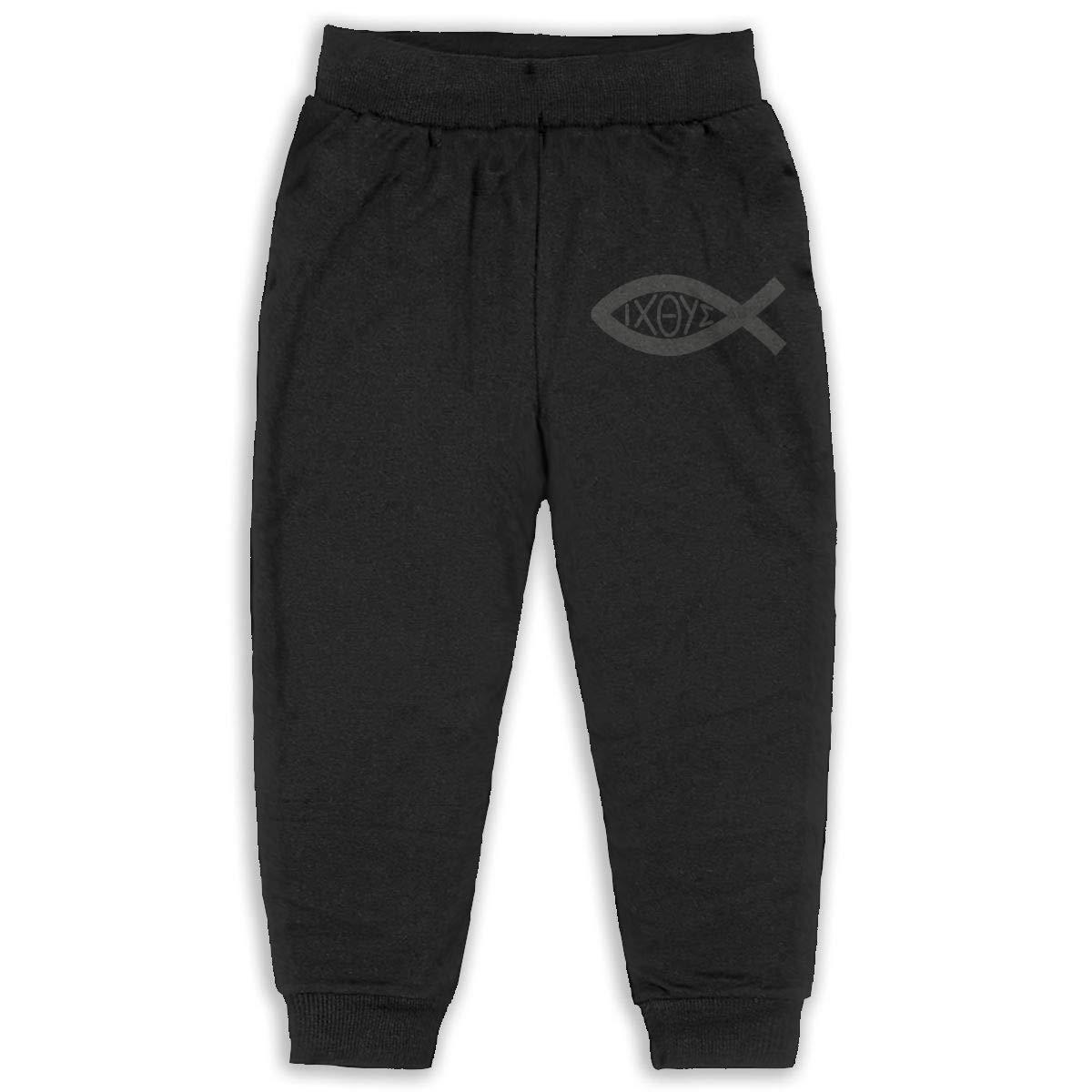 Fleece Active Joggers Elastic Pants DaXi1 Ichthys Sweatpants for Boys /& Girls