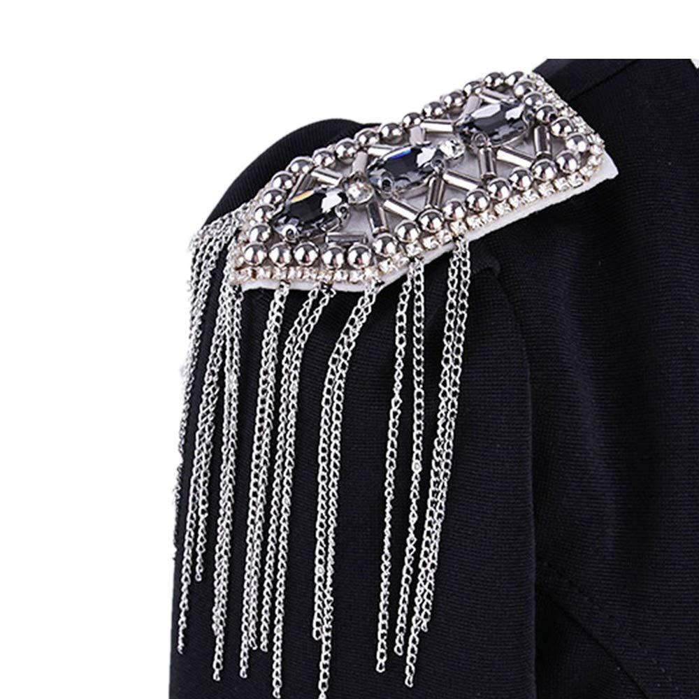 Epaulets Diamantes de imitaci/ón borla cadena charreteras hombreras flecos unisex piezas insignia uniforme accesorios de vestuario for hombres mujeres Para El Rendimiento De La Ceremonia