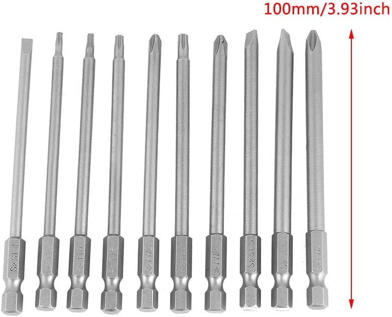 """1//4/"""" tige hex T8 Magnétique S2 Torx Tournevis Bits 100 Mm Long Gris 10pcs"""