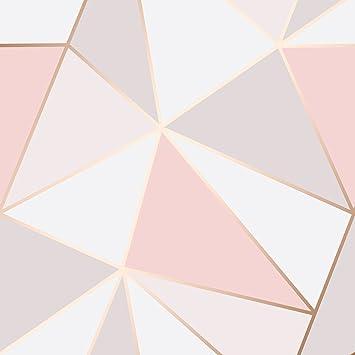 Fine Decor Apex Papier Peint Geometrique Doux Rose Rose D Or