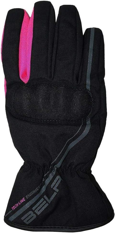 Bela Rebel Lady Guante Impermeable de Invierno de moto para mujeres Negro//Rosa, S