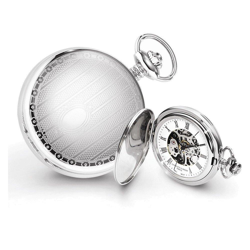 Charles Hubert Chrome-finish Stripe Design Pocket Watch