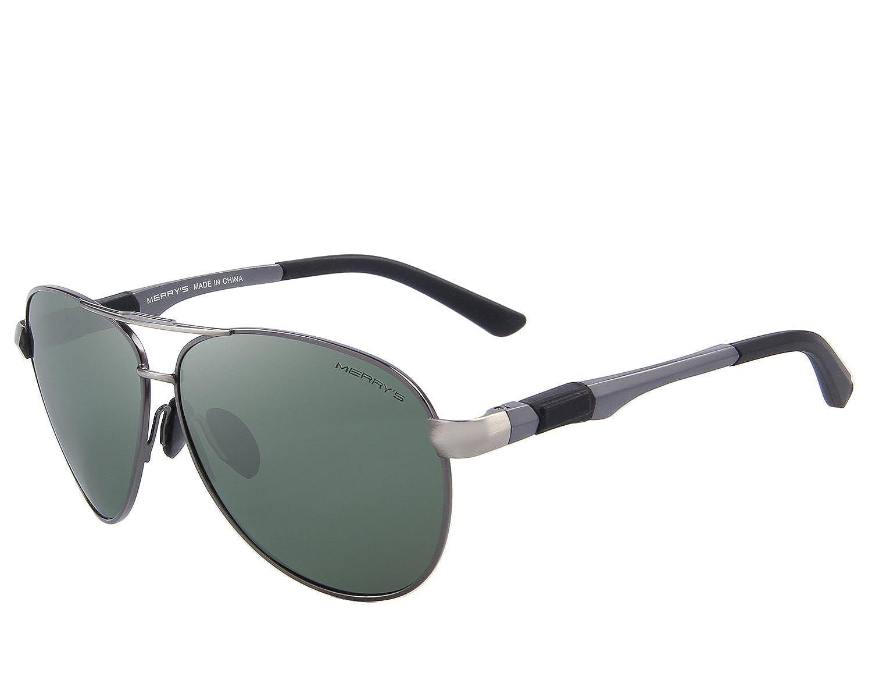 e1bc27791bb MERRY S Sunglasses for Men Polarized Metal Frame Driving Sun Glasses UV 400  Lens Protection S8404 (Black