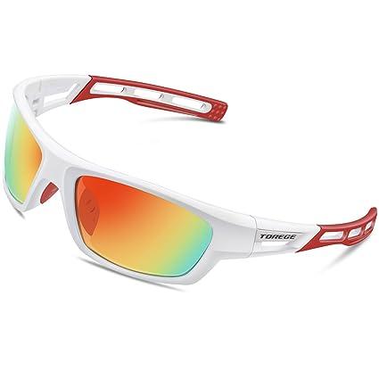 1c47472239 Torege Polarized Sports Sunglasses for Men Women Cycling Running Driving Fishing  Golf Baseball Glasses EMS-