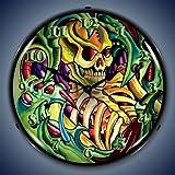 Retro Tattoo Skull Lighted Wall Clock For Sale