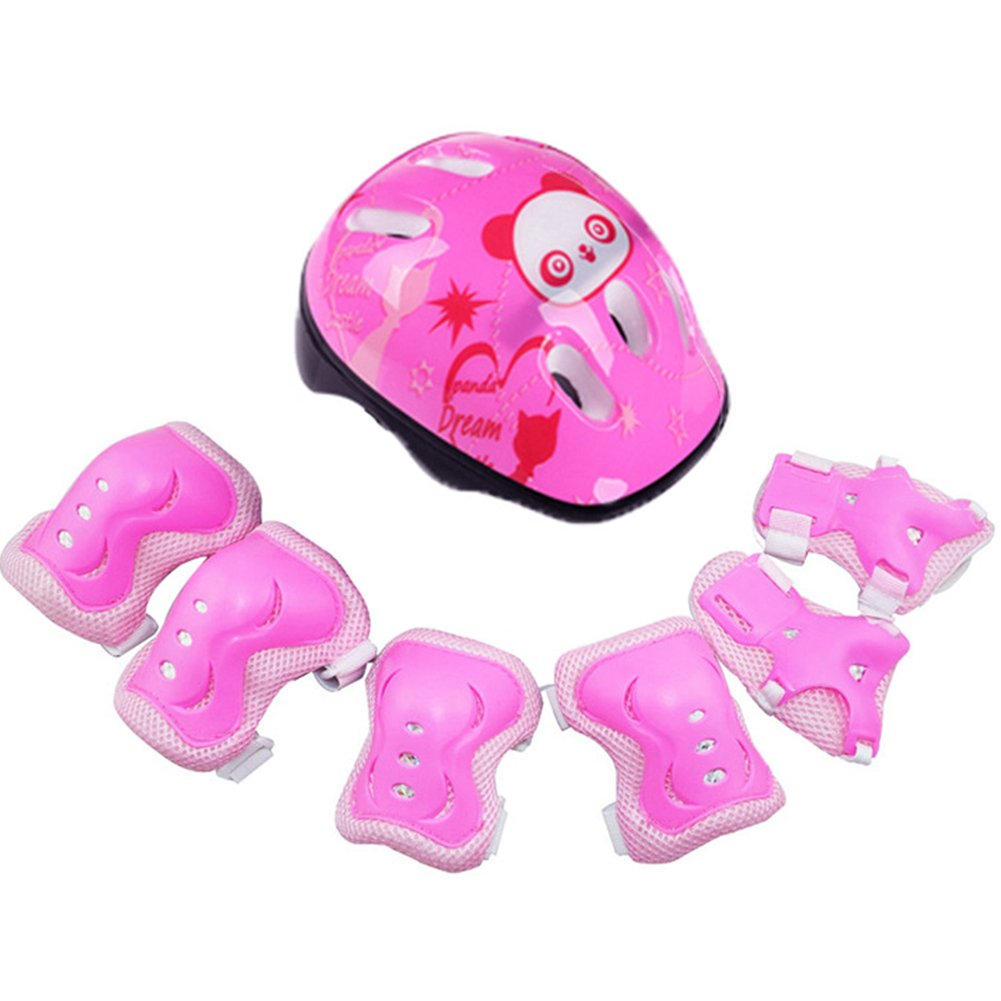 GEZICHTA Kids Sport Helmet and Protected Pads Set,7Pcs/Set Elbow Wrist Knee Pads and Helmet Protector, Safety Protective Gear for Sports Skateboard Skating Cycling Riding (Pink)