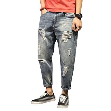 Yiiquan Jeans Uomo Strappati Lavato Pantaloni in Denim Uomini Straight Pantaloni Jeans Moda