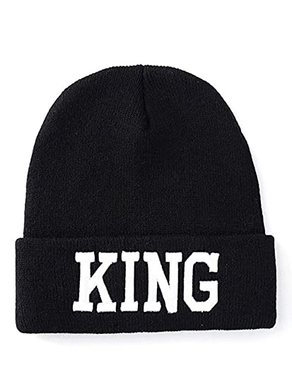 43c1c43cc BELIFECOS Black Couple Skull Cap King & Queen Winter Knitting Beanie ...