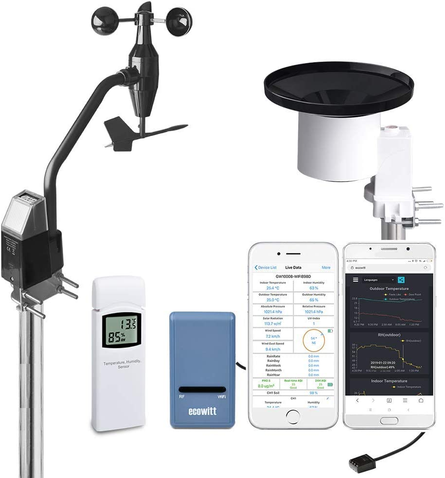 ECOWITT GW1002 Wi-Fi Weather Station with Solar Powered Wireless Anemometer, UV & Light Sensor, Self-Emptying Rain Collector, Weather APP and Weather Server