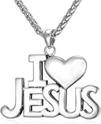 I Love Jesus Unisex Women/Men Jewelry Jesus Piece 18K Gold Plated Stainless Steel Necklace