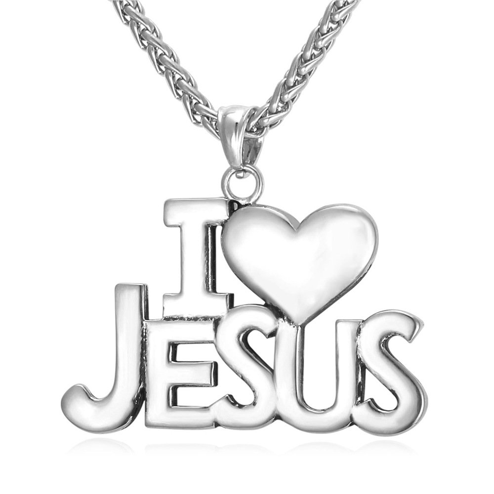 U7 High Polished Twisted Wheat Chain Stainless Stee I Love Jesus Necklace