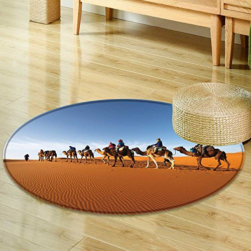 Sahara Small Rug - Small Round Rug CarpetCaravan Going Through The Sand Dunes in The Sahara Desert Morocco Door mat Indoors Bathroom Mats Non Slip-Round 47