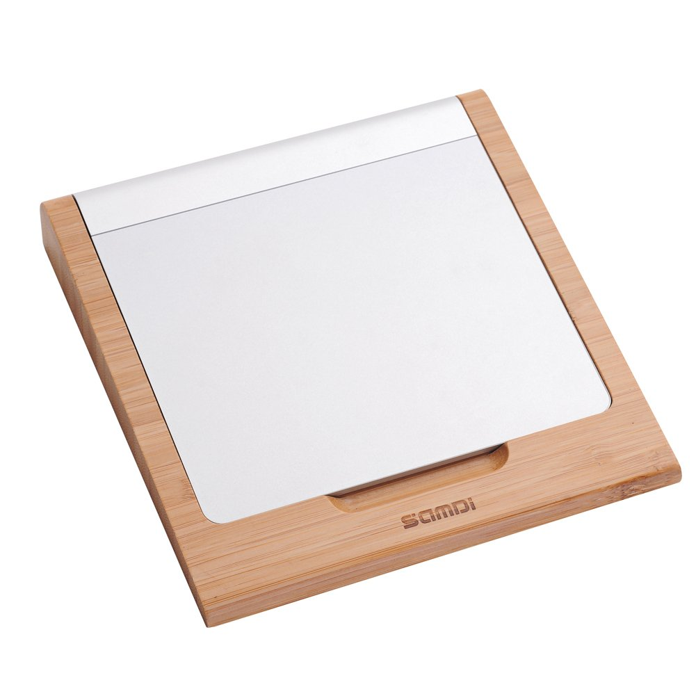 SAMDI Magic Trackpad Tray, Apple Magic wooden Trackpad Tray with Small Slot for Storage, Applicable for Magic Keyboard 1 Generation, Simple & Compact (Bamboo Color)
