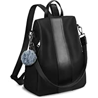 YALUXE Women Backpack Purse Waterproof Genuine Leather Nylon Anti-Theft Rucksack Lightweight School Shoulder Bag