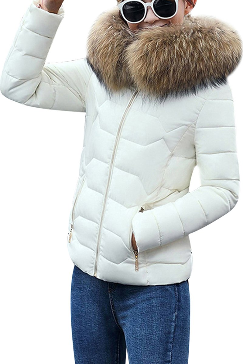 YMING Women Solid Color Elegant Warm Wear Packable Faux Fur Hooded Jacket White L