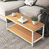 DlandHome Coffee Table TV Stand 39'', Rectangular Composite Wood Board, Cocktail Table/Side Table/End Table/Sofa Table/Dining Table for Living Room, TVST4-TW Teak, 1 Pack