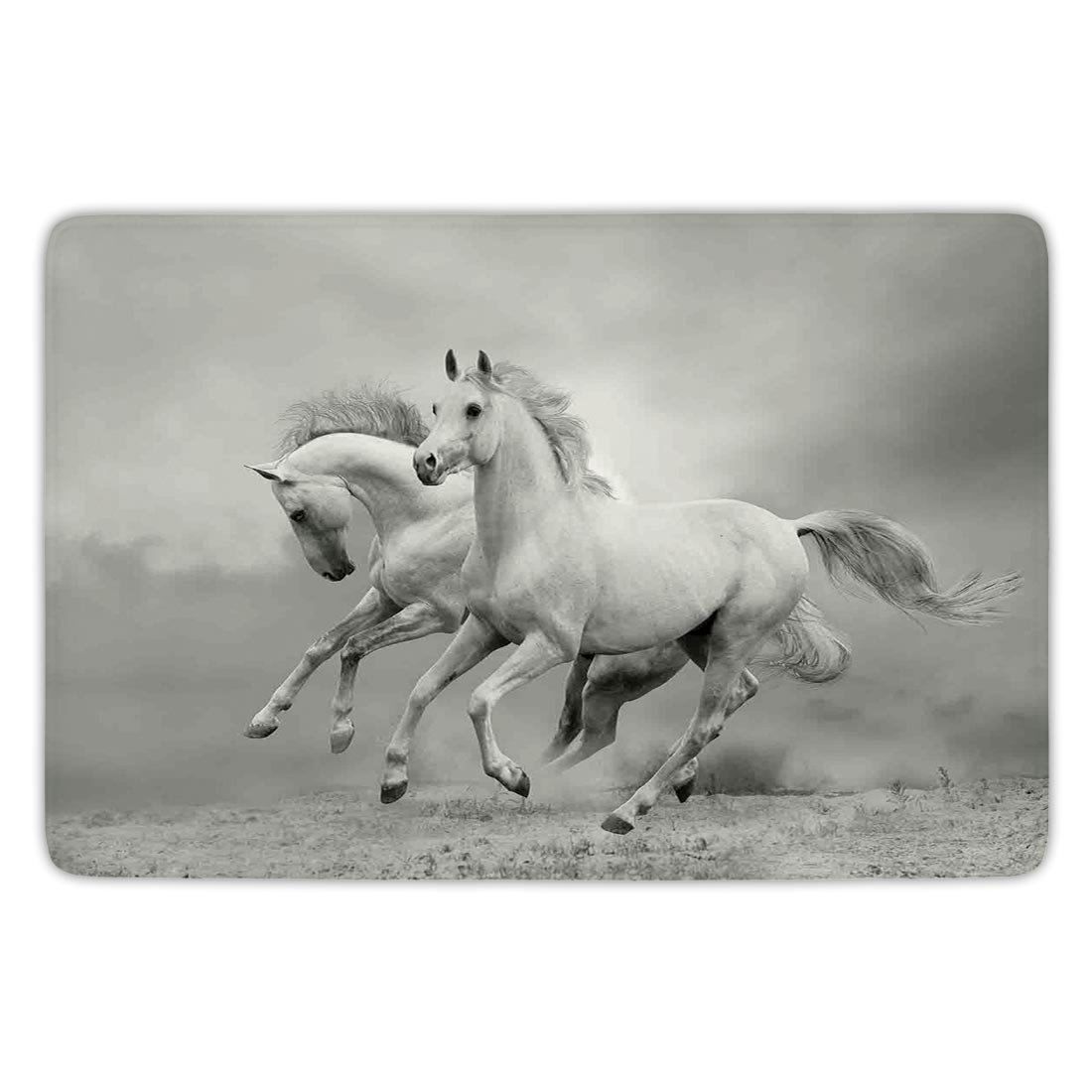 Bathroom Bath Rug Kitchen Floor Mat Carpet,Animal Decor,Running Horses Symbolize Passion and Appetite for Freedom Spiritual Creatures Photo,Black and White,Flannel Microfiber Non-slip Soft Absorbent