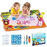 Betheaces Aqua Magic Mat, Kids Toys Large Water Drawing Mat Toddlers Painting Board Writing Mats in 6 Colors with 2 Magic Pens and 1 Brush for Boys Girls Educational Gift Size 34.5