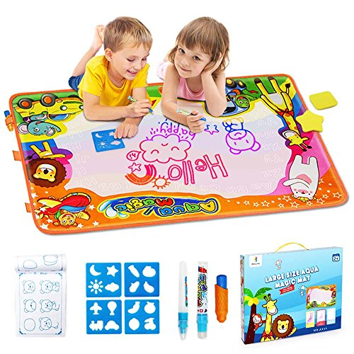 Betheaces Water Doodle Mat, Kids Gift Aqua Magic Mess Free Coloring Toddlers Toys Painting Board Educational Writing Mats in 6 Colors for Boys Girls Age of 2,3,4,5,6,7,8 Year Old Size 34.5