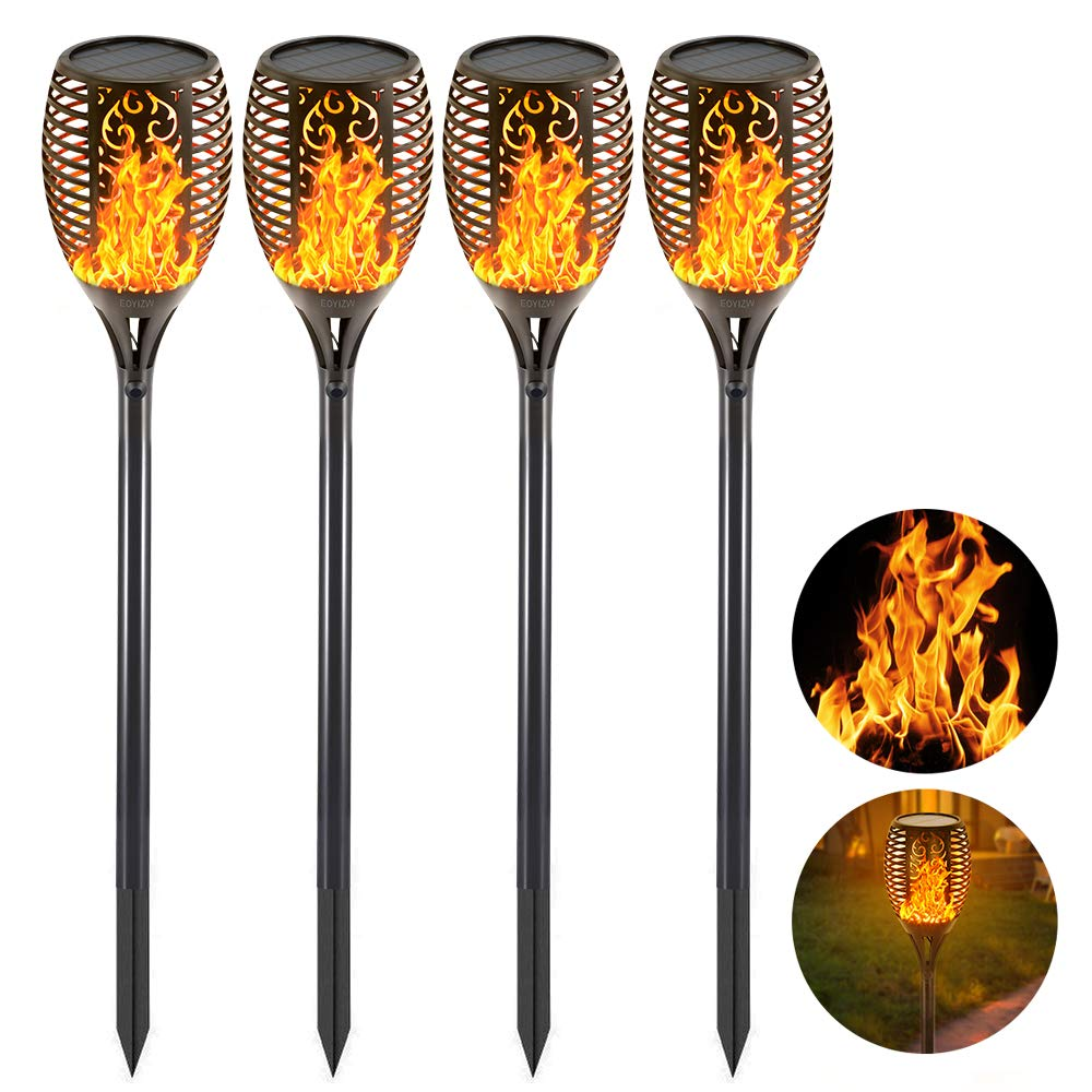 Eoyizw Solar Flame Torches Lights Flickering Dancing Landscape Lanterns Dusk to Dawn Auto On Off 99 LEDs IP65 Waterproof Pathway Garden Yard Walkway Lawn Patio Decorative Outdoor Camping Lamp 4 PCS by EOYIZW