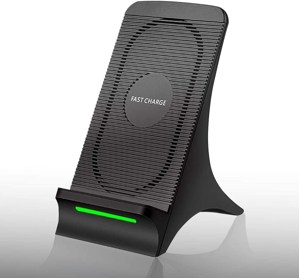 Wireless Smart Charger QI Certified Fast Wireless Charging Stand with Cooling Fan Phone Holder for Samsung Galaxy S9 S9 Plus Note 9 Note 8 S7 for iPhone X 8/8 Plus and all QI-Enabled Devices