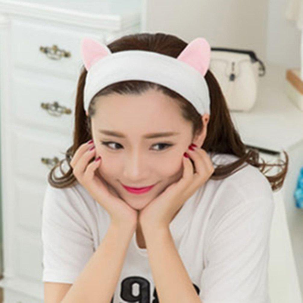 Pevor 2 Pcs Hairband Headband Cat Ears Hair Bands Hair Accessories Soft Cotton Headdress Cute Fashion Hair Band Turban for Women Girls Sport Wash Face Makeup Hair Band