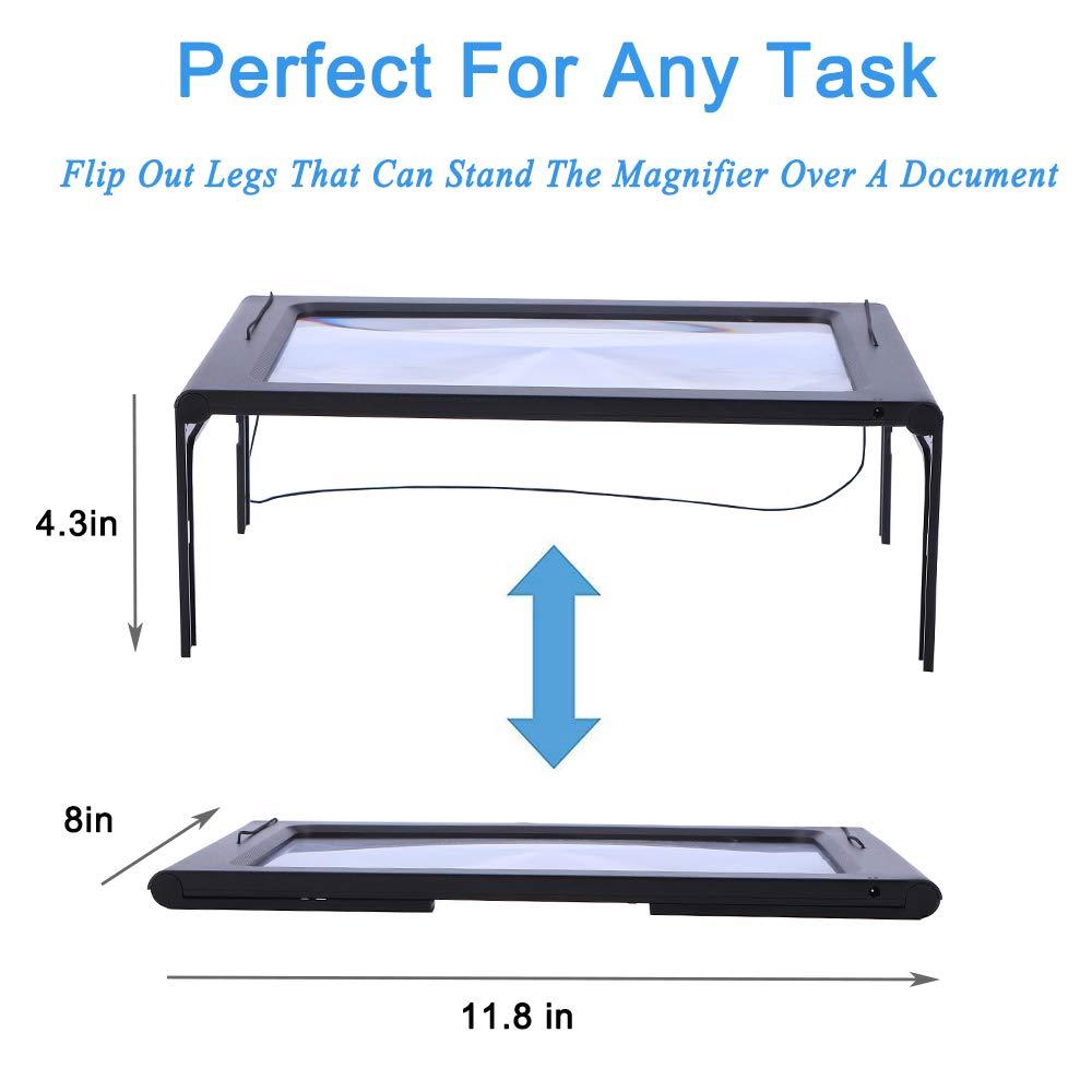 Magnifying Glass Hands-Free Large Rectangular Full-Page Magnifier LED Lighted Illuminated Foldable 3X Desktop Portable for Elder Kids ZQXJXZ .
