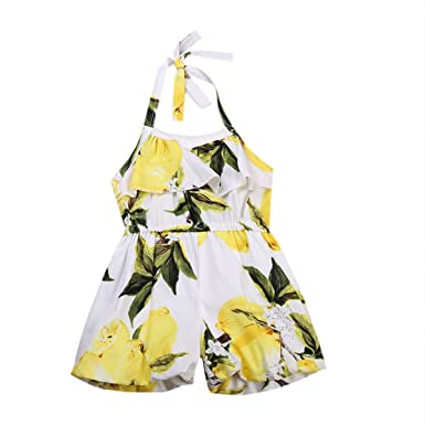 fb78582cee0 Toddler Baby Girls One-piece Romper Lemon Print Sleeveless Hater Floral  Jumpsuit Outfit Beachwear Clothes