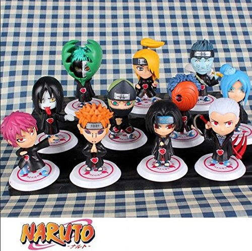 Naruto Akatsuki All Members 17 Generation Japanese Manga Naruto Action Figures Set of 11 Pieces Pvc Action Figure Collection Model Toys Doll 8Cm