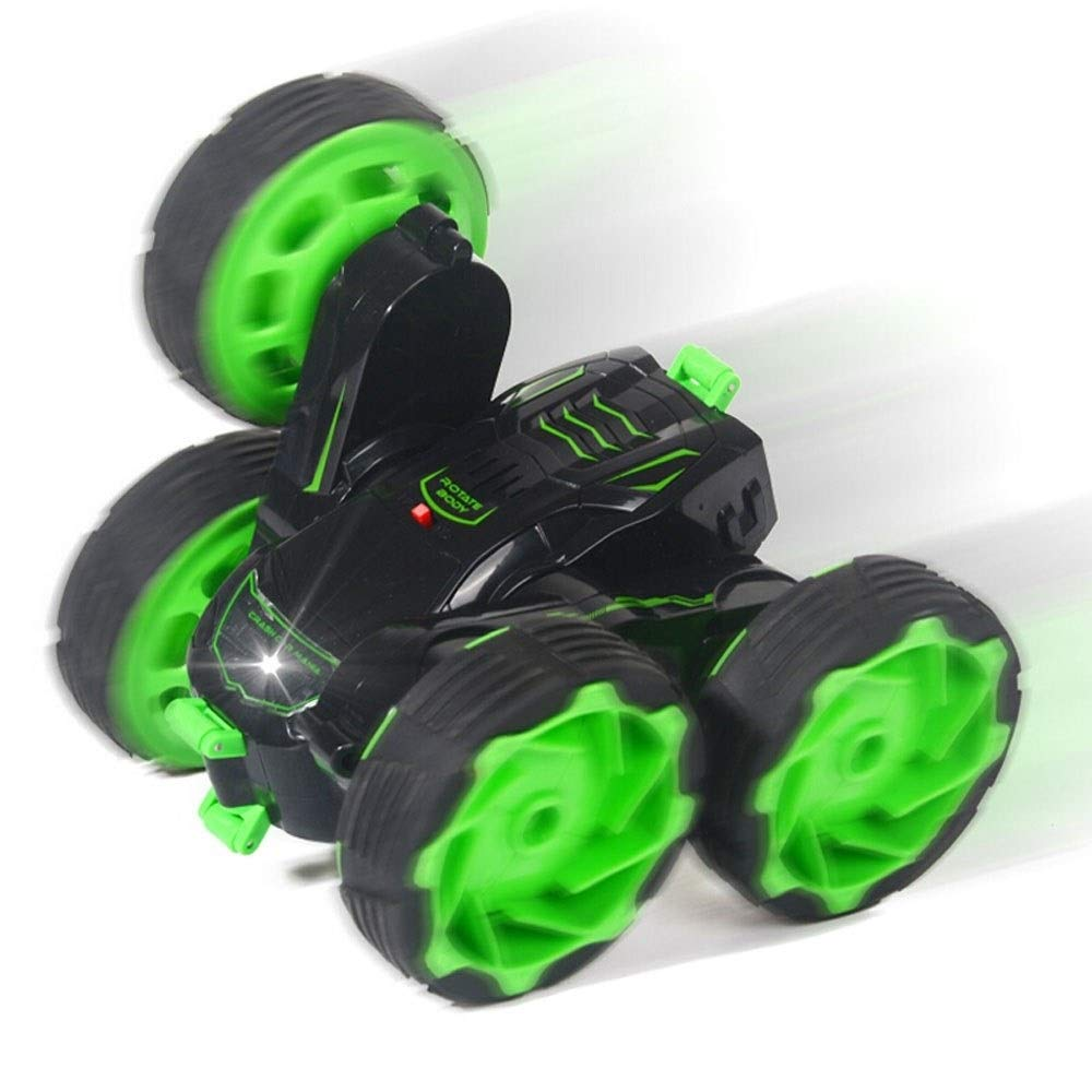 TBFEI Double Sided Rotating Tumbling 360 Degree Flips,RC Truck with LED Headlights Children Remote Control Toy Charging Stunt Dump Truck RC Car Remote Control Stunt Car (Color : Green) by TBFEI (Image #4)