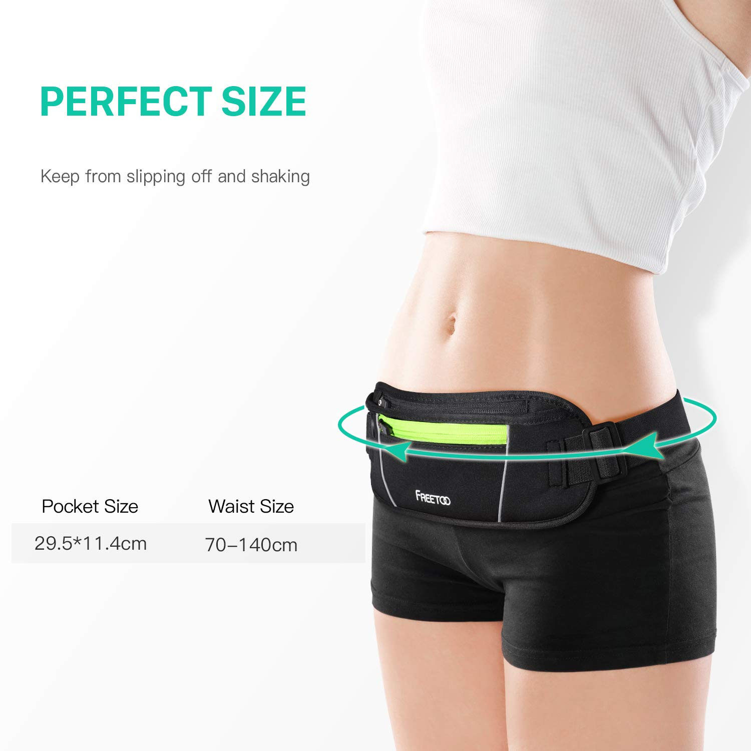 Black/&Green Ideal for Apple iPhone 8//7//6s//6 FREETOO Running Belt Running Waist Pack Bounce Free Waist Pouch Exercise Workout Belt for Women/&Men